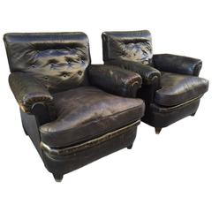 Pair of 1930s French Leather Club Chairs