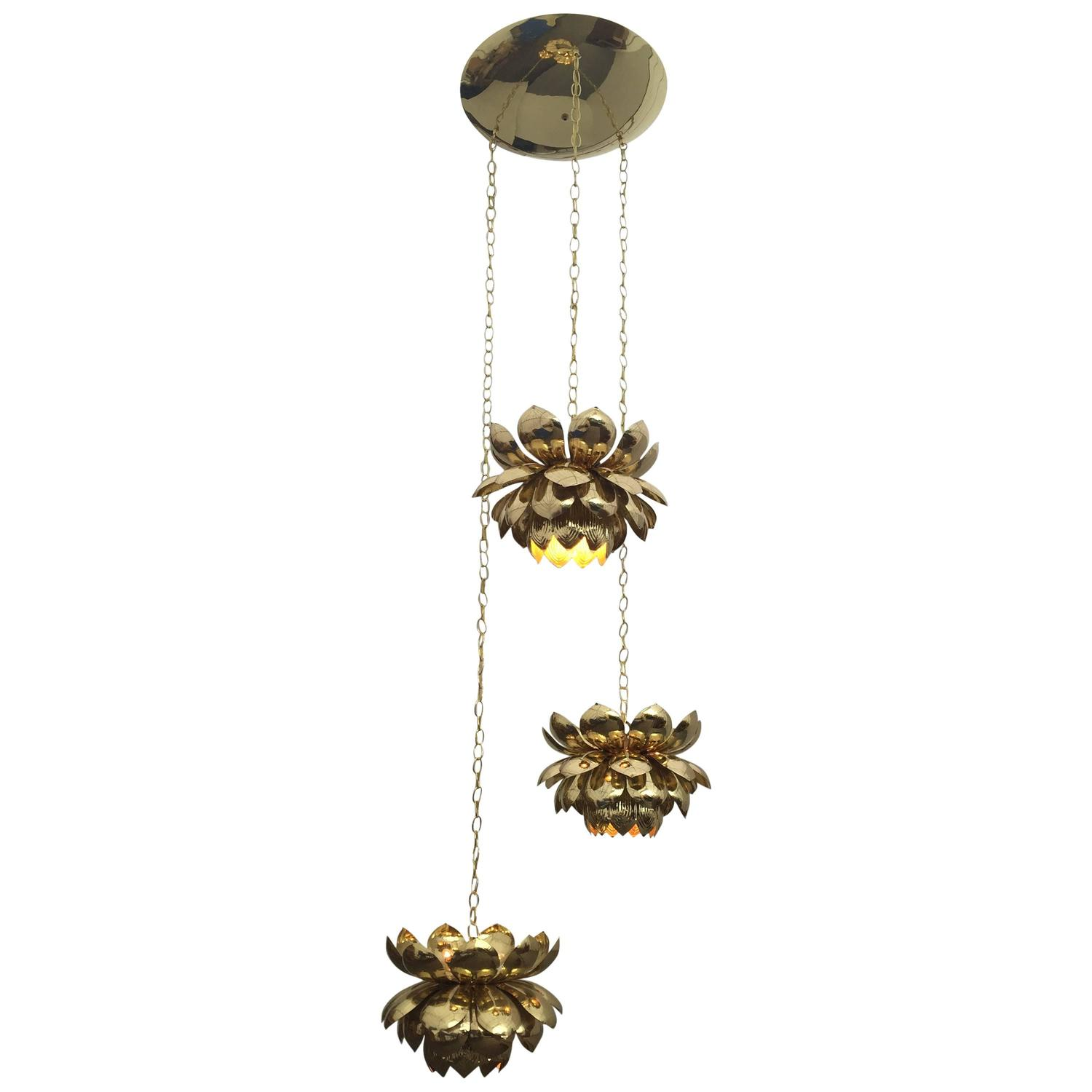 Massive feldman brass chandelier with large lotus pendants for sale massive feldman brass chandelier with large lotus pendants for sale at 1stdibs aloadofball Gallery