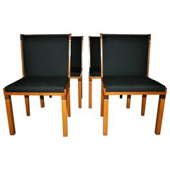 Set of Four Swedish Art Deco Dining Chairs by Carl Bergsten
