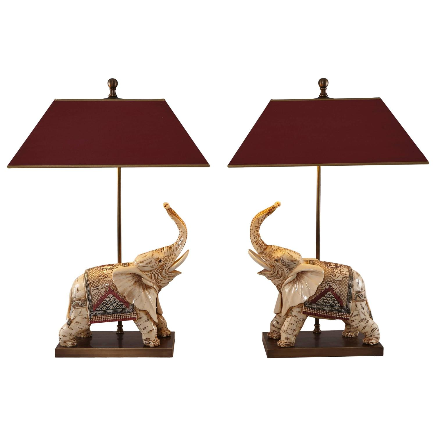 Pair Of Bone Elephants As Table Lamps For Sale At 1stdibs