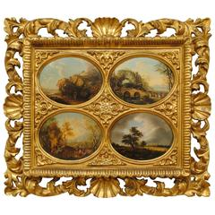 Set of Four Oval Flemish Paintings