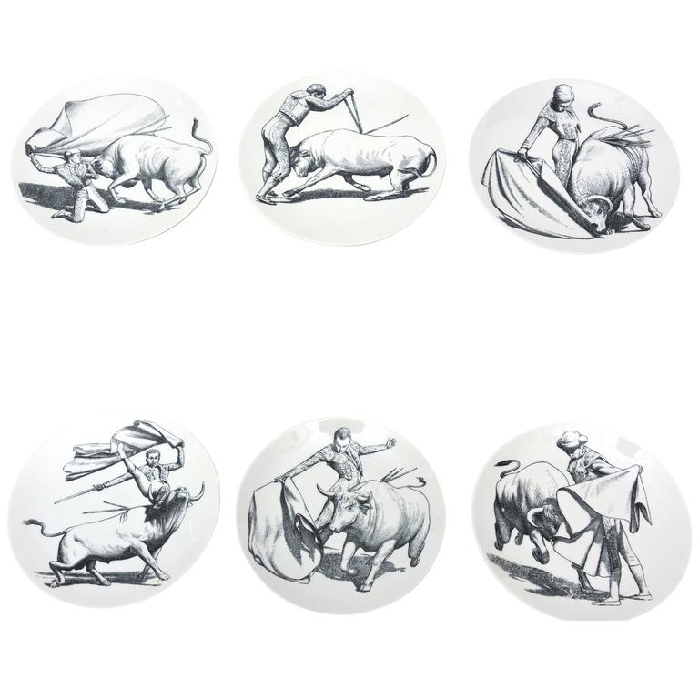 Set of Six Vintage Italian Piero Fornasetti Porcelain Bullfight Dinner Plates