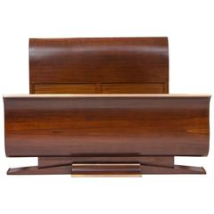 French Art Deco European Queen Size Bed, Rosewood