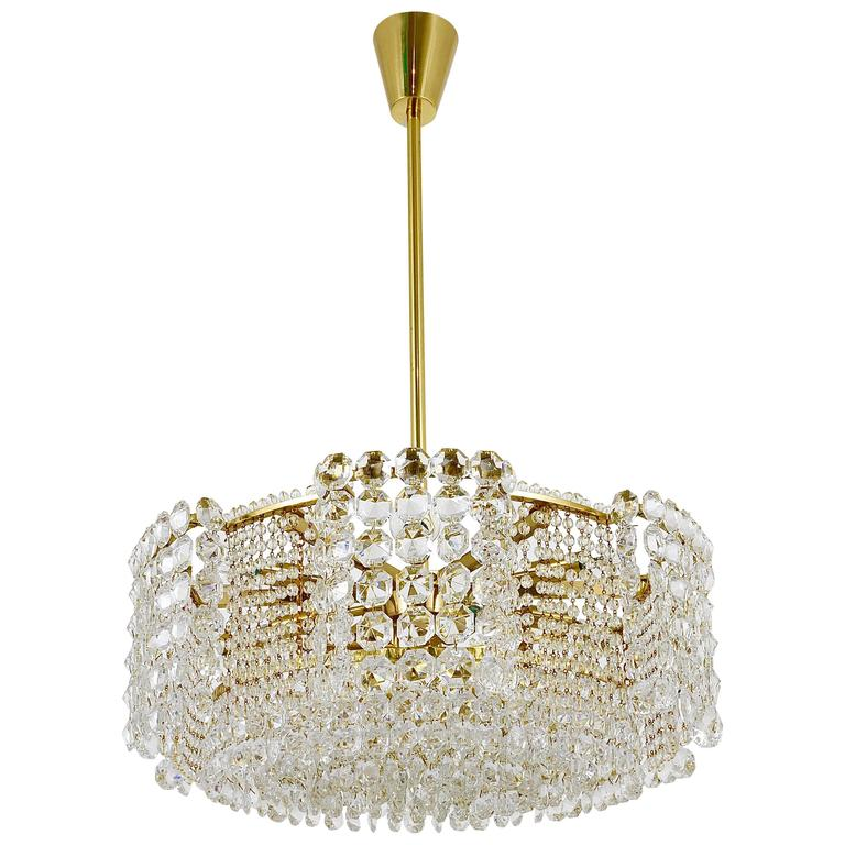 Impressive Lobmeyr Langenzersdorf Brass Crystal Chandelier Austria