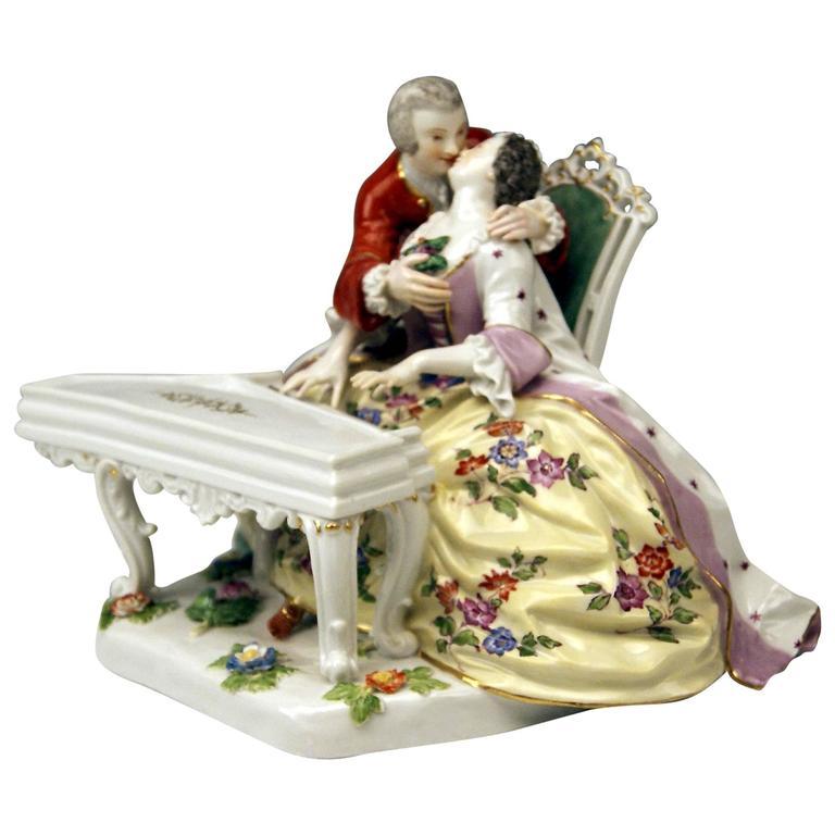 Meissen Kaendler Gallant Figurines at Clavicord Piano Model 186, circa 1860