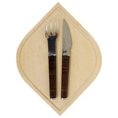 Modernist Flatware and Wooden Board by János Megyik, Amboss Austria, 1970s