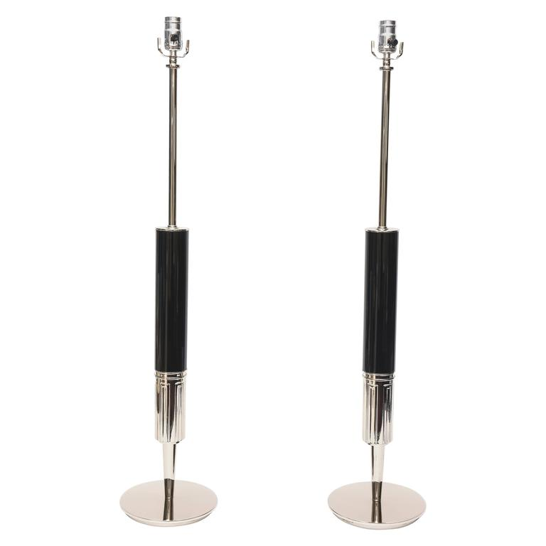 Pair of Stiffel Nickel Silver and Ebonized Wood Table Lamps