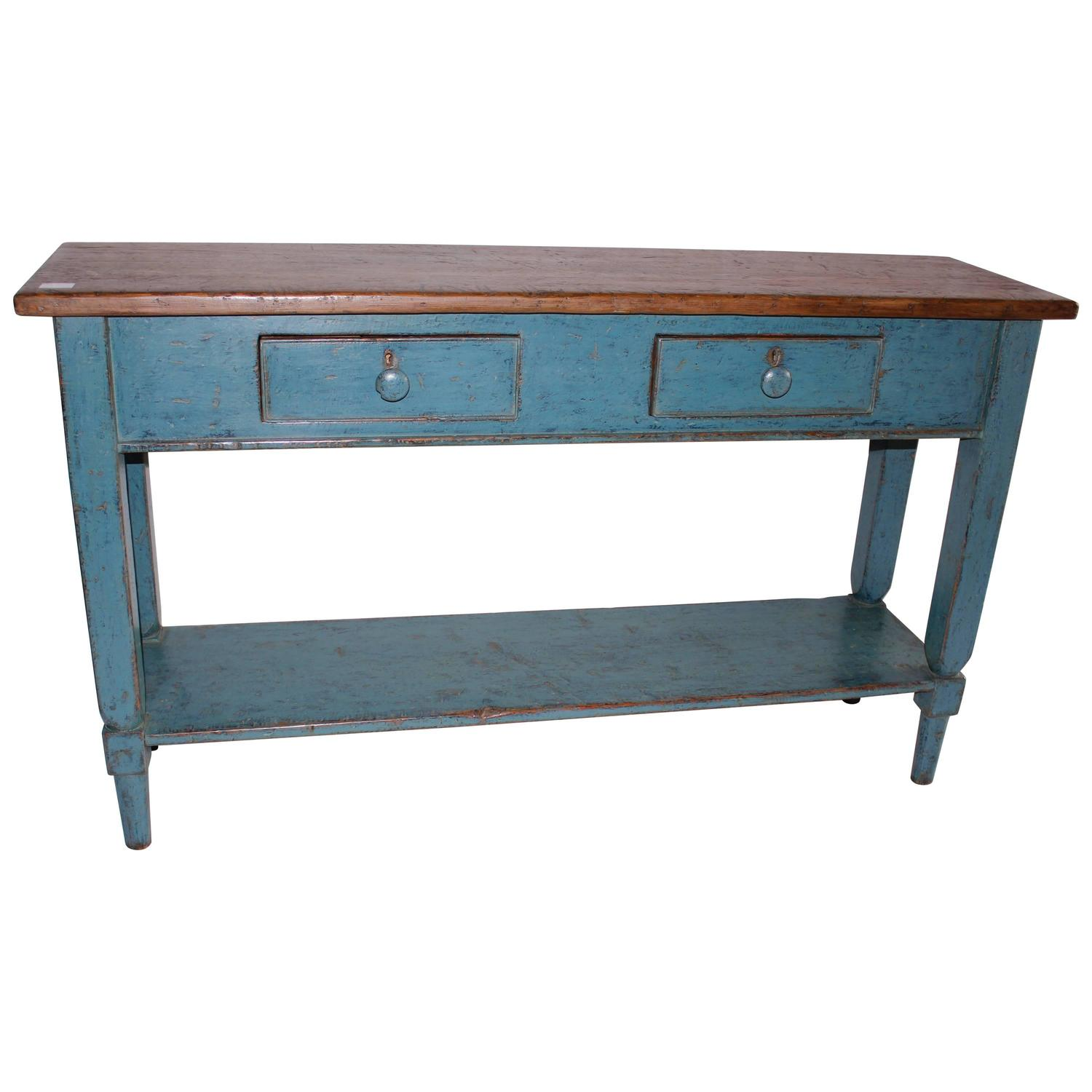 Blue Two Drawer Sideboard Tables At 1stdibs