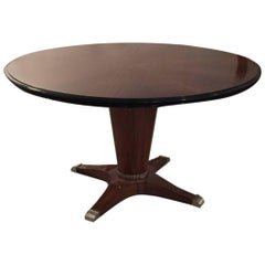 """French Art Deco Round """"Sunburst"""" Dining Table with Silver Hardware"""