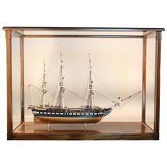 USS Constitution Old Ironsides Ship Model in Display Case