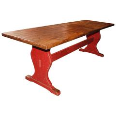 Trestle Table with a Red Base
