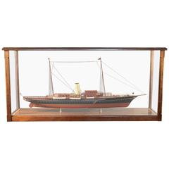 "Steam Yacht ""Corsair"" of 1930, Ship Model in Wood Display Case with Table"