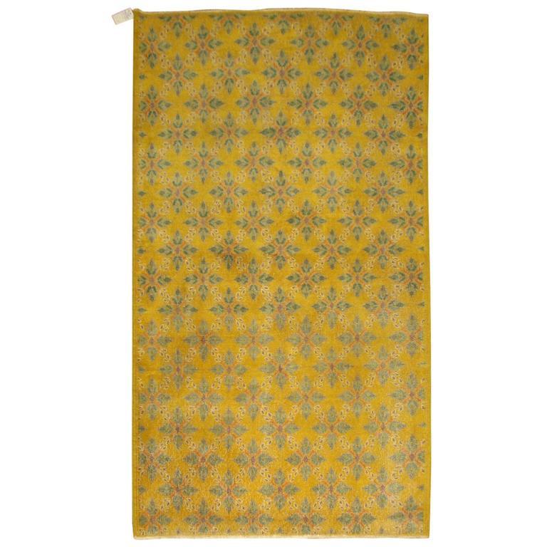Vintage Yellow Anatolian Rug For Sale