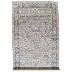 Antique Persian Lavar Kerman Oriental Carpet, Handmade Persian Rug, Ivory, Blue
