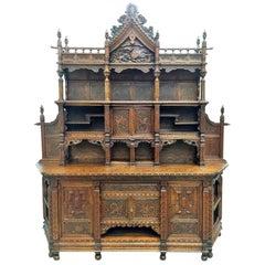 Antique Japanesse Hand-Carved Elmwood Cabinet, Sideboard, Meiji, 20th Century