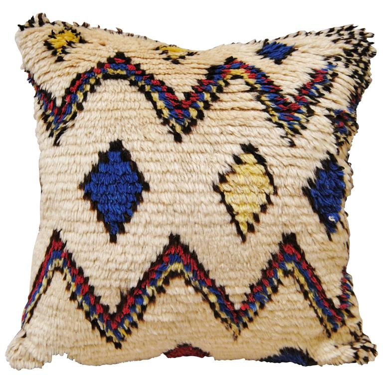 Custom Pillow Cut From A Hand-Loomed Wool Moroccan Azilal