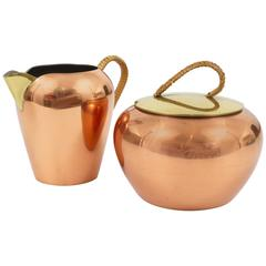 Austrian Copper and Brass Milk Creamer and Sugar Bowl with Lid, 1950s
