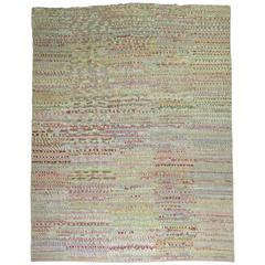 Vintage Turkish Tulu Carpet Influenced by 20th Century American Rag Rugs