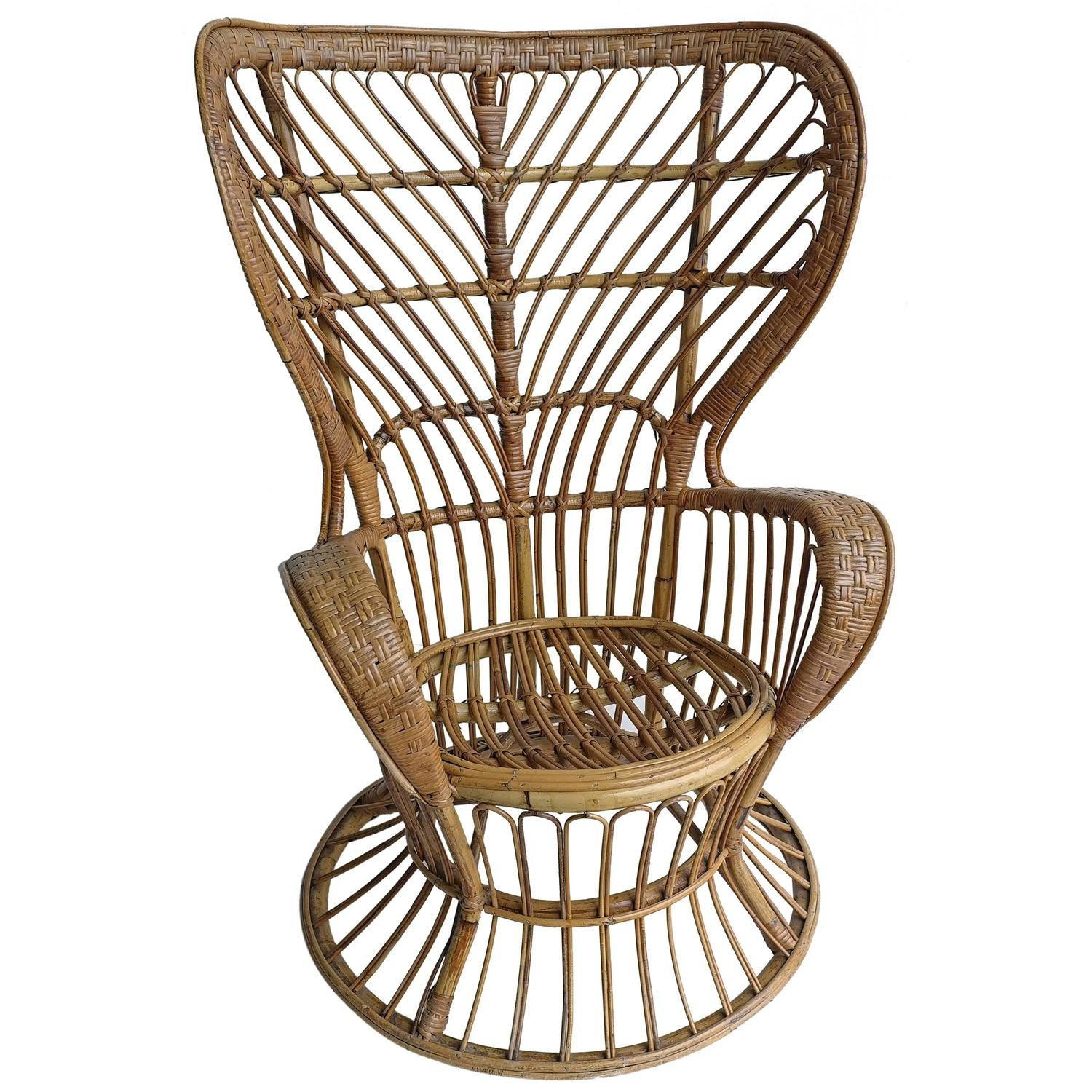 High Wingback Rattan Chair by Gio Ponti and Lio Carminati Italy