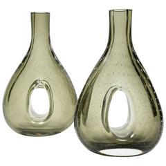 Pair of Smoked Murano Glass Vases Attributed to Venini