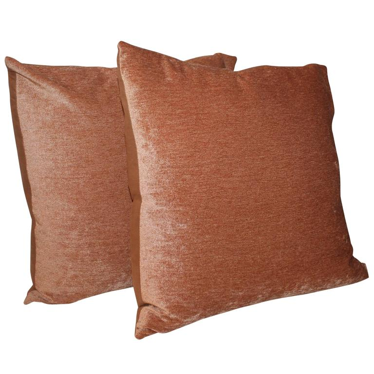 Pair of Peachy Velvet Pillows
