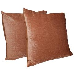 Pair of Peachy Velvet Pillows
