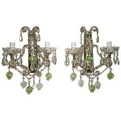 1930 French Beaded Green and Clear Murano Balls Mirrors Sconces