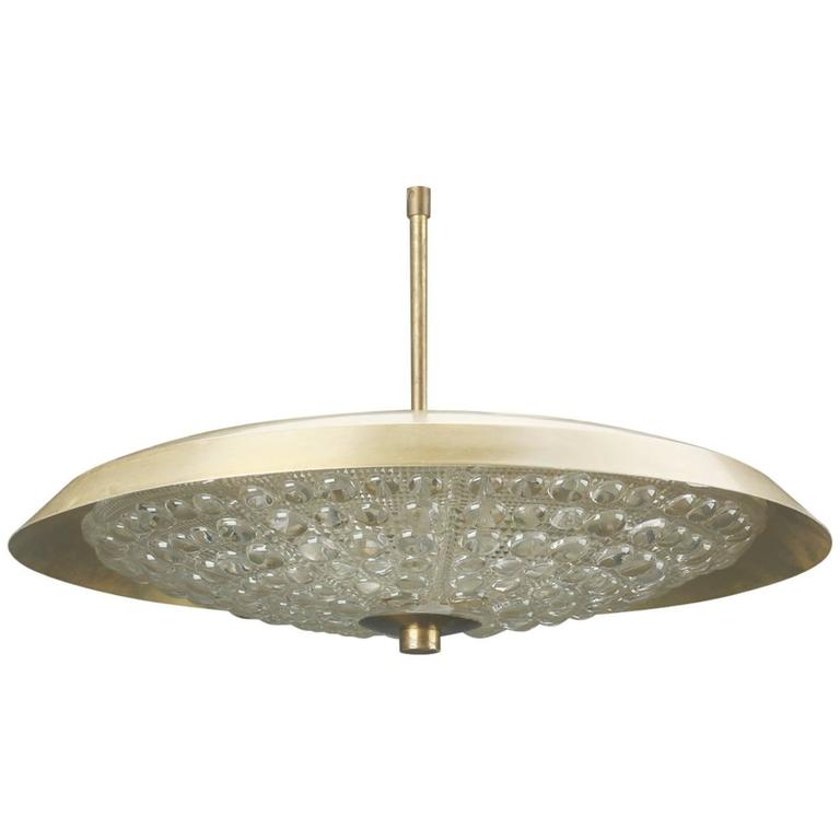 Brass and Pressed Glass Pendant Ceiling Fixture by Orrefors of Sweden