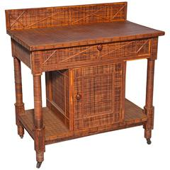 Side Cabinet in Woven and Split Rattan, Fitted with Single Drawer and Storage