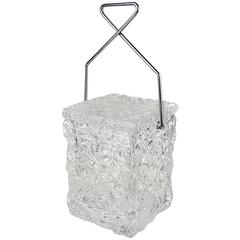 """Playful """"Block of Ice"""" Lucite Ice Bucket with Chrome Tong Handle by Wilardy"""