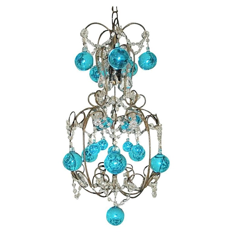 Vintage French Huge Aqua Murano Balls Chandelier For Sale
