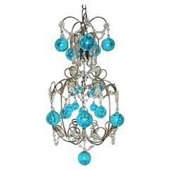 Vintage French Huge Aqua Murano Balls Chandelier