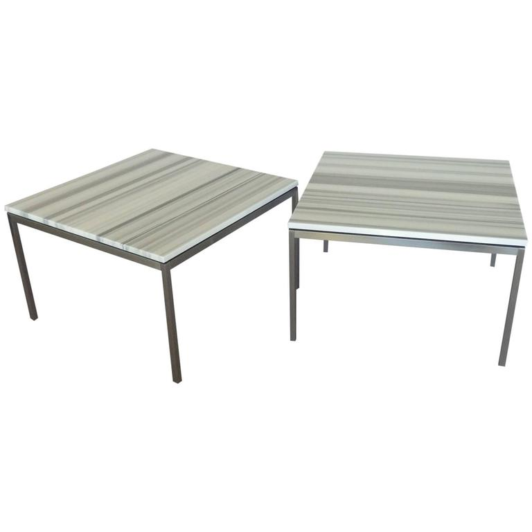 Spectacular Pair Of Zebra Striped Marble Top Knoll Tables For
