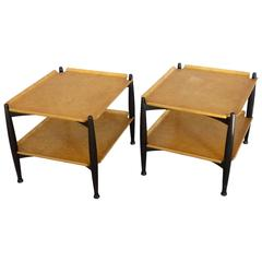 Pair of Edward Wormley, Dunbar Blonde Burl Occasional Tables