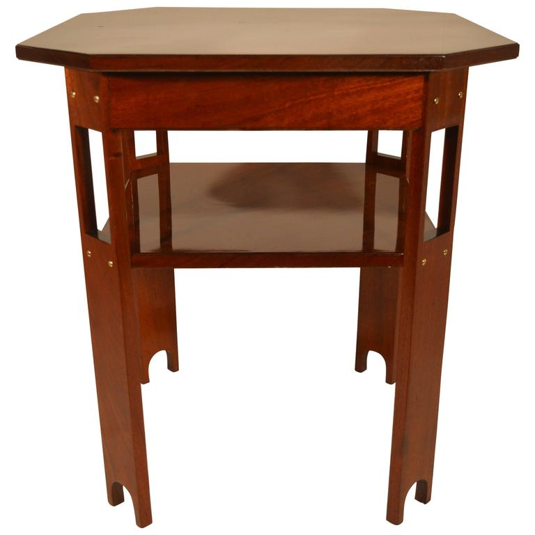 Art deco solid mahogany table in arts and crafts style at for Arts and crafts style table