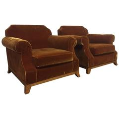 Pair of English Distressed Velvet Lounge Chairs