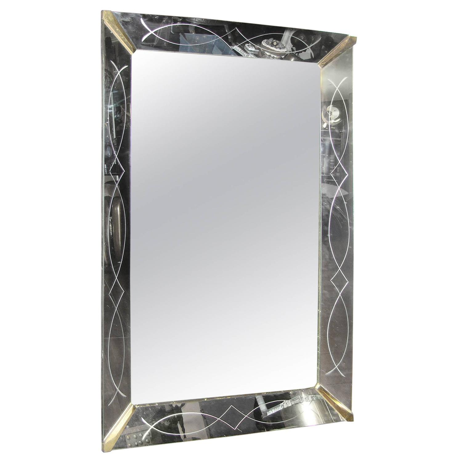Art Deco Reverse Etched Glass Wall Hanging Mirror at 1stdibs