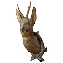 Carved Wood Roe Deer Head, 1900