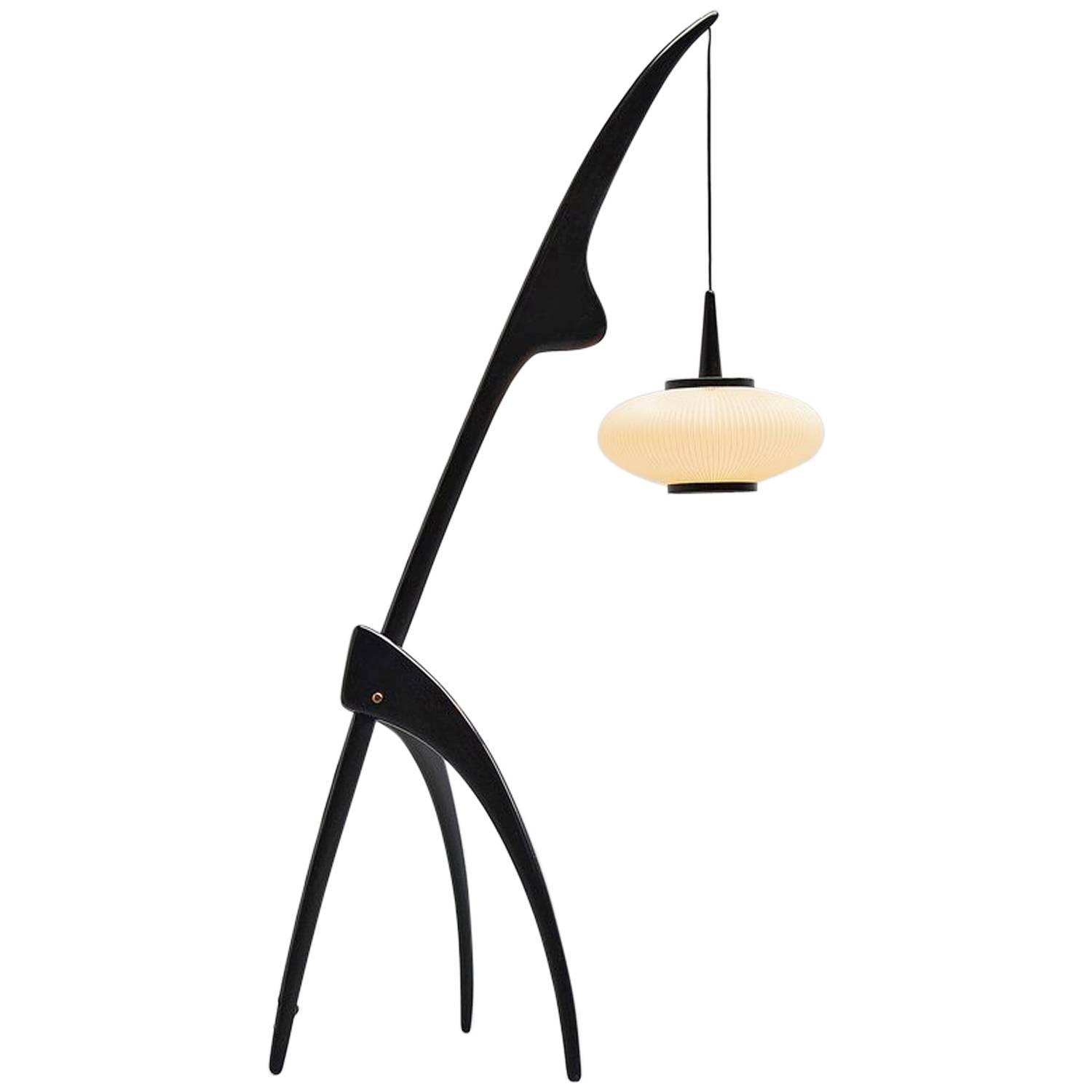 rispal praying mantis floor lamp france 1952 at 1stdibs. Black Bedroom Furniture Sets. Home Design Ideas