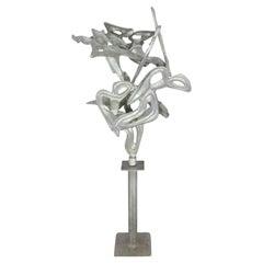 Cast and Welded Free-Form Abstract Aluminum Sculpture