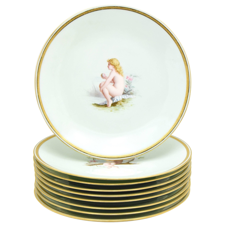 Set of Nine Minton 19th Century Hand-Painted Dessert Plates, Antonin Boullemier