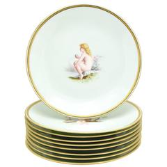 Set of Nine Minton 19th Century Hand-Painted Dessert Plates, Antonin Boullemier