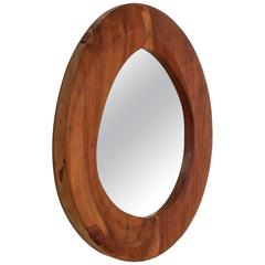 Free-Form Wooden Mirror, France, 1950s