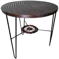 Rattan and Iron Coffee Centre Table, France, 1950s