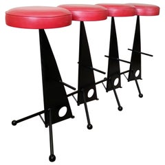Four Iron Bar Stools style of Mathieu Matégot, France, 1950s