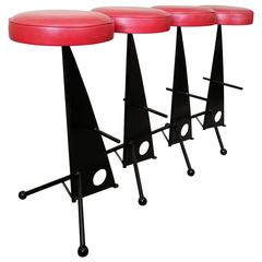 4 Iron Bar Stools attributed to Mathieu Mategot, France 1950s
