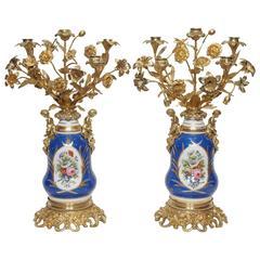 """Pair of Antique French """"Vieux Paris"""" Porcelain Lamps, circa 1840-1860"""