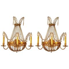 Pair Of Russian Dore Bronze And Crystal Wall Sconces