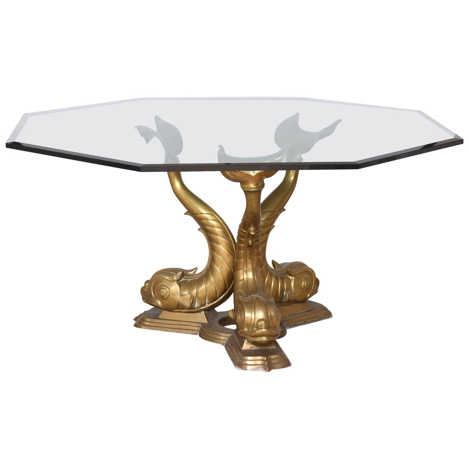 Hollywood Regency Style Octagonal Glass Dining Table With Dolphin Base