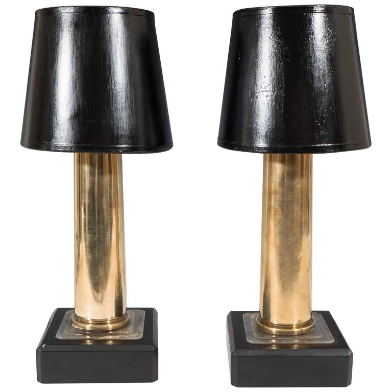 Pair Of WWII Brass Artillery Shell Casings As Table Lamps For Sale